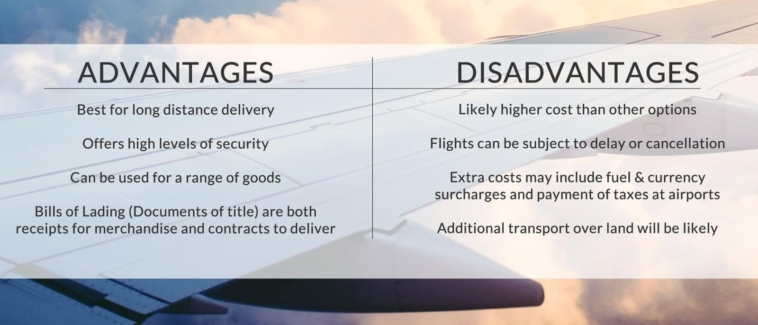 The advantages and disadvantages of air freight