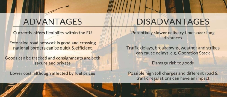 The advantages and disadvantages of road freight
